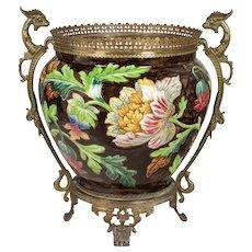 French Art Nouveau Longchamp Bronze Mounted Ceramic Planter
