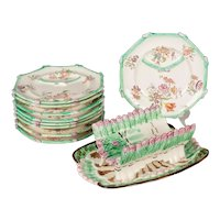 Longchamp French Majolica Asparagus Plates and Serving Set