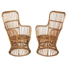 Mid Century French Riviera Rattan Arm Chairs Pair