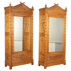 French Faux Bamboo Armoires, a Pair