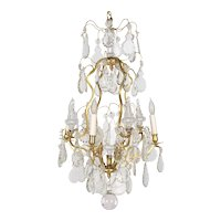 French Crystal Eight Light  Brass Chandelier
