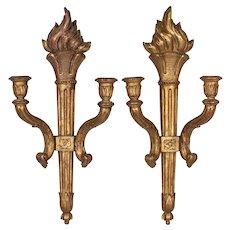 Pair of 19th French Giltwood Torch Sconces