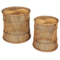 Vintage French Rattan Side Tables