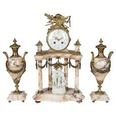19th Century Louis XVI Style French Mantel Clock Garniture