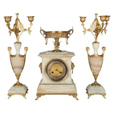 French Art Deco Mantle Clock and Candelabras
