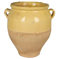 French Yellow Glazed Terracotta Confit Pot