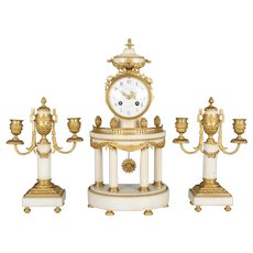 19th Century Louis XVI Style French Mantle Clock and Candelabras