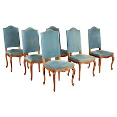 French Louis XV Style Dining Chairs Set of Six
