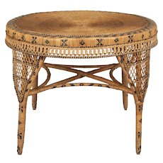 Vintage French Rattan Dining Table