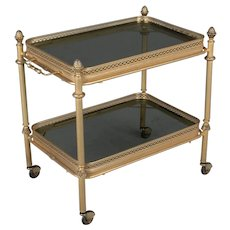 Mid Century Modern Brass and Smoke Glass Bar Cart