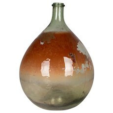 French Glass Demijohn Bottle