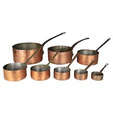 Set of Eight French Copper Graduated Pots