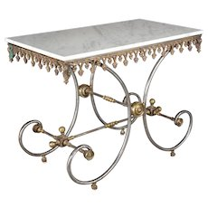French Iron Marble Top Pastry Table