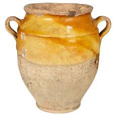 French Terracotta Yellow Confit Pot