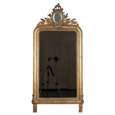 19th c. Louis Philippe Style Gilded Mirror with Oval Crest