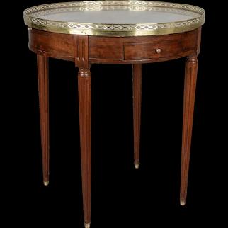 19th Century Louis XVI Style Marble-Top Bouillotte Table