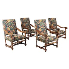 Louis XIII Style French Fauteuils or Armchairs - Set of Four