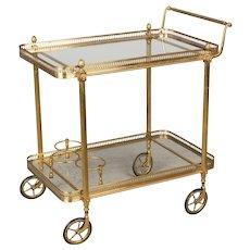 Mid Century Maison Jansen Style Brass Bar Cart