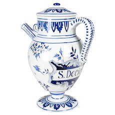 Delft Faience Apothecary Pitcher with Lid