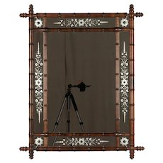 French Faux Bamboo Mirror with Etched Glass Panels