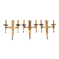 French Gilded Wrought Iron Sconces, Set of 3