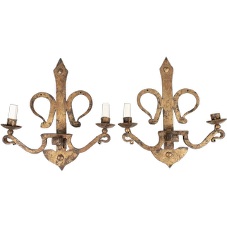 French Gilded Wrought Iron Sconce Pair
