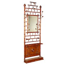19th Century French Faux Bamboo Hall Tree or Coat Rack