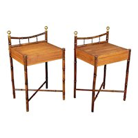 French Mid-Century Bamboo & Rattan Side Tables, a Pair