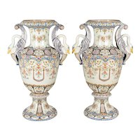 19th Century French Desvres Faience Urns, Pair