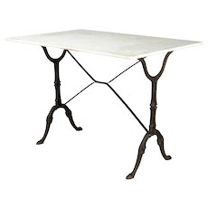 French Cast Iron Marble-Top Bistro Table