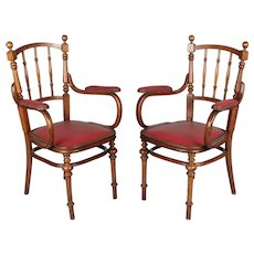 Pair of French Bentwood Thonet Style Armchairs