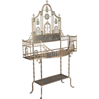 Wrought Iron Plant Stand with Glass Medallions