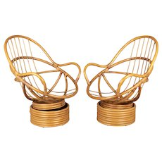 Pair of Vintage Rattan Lounge Chairs