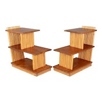 Mid Century Paul Frankl Rattan End Tables