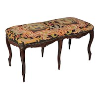 French Louis XV Style Tapestry Bench