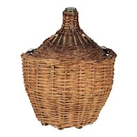 French Glass Demijohn Bottle in Woven Basket