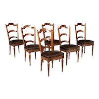 French Louis XVI Style Mahogany Dining Chairs, Set of Six
