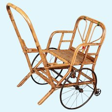 19th Century French Bamboo & Rattan Baby or Doll Stroller