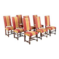 French Louis XIII Style Dining Chairs, Set of 8