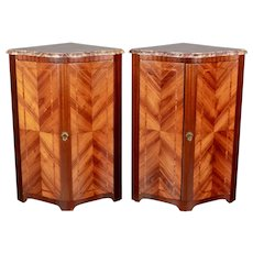 Louis XVI Style French Marquetry Corner Cabinets, Pair