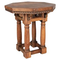 19th Century Rustic French Hexagon Side Table