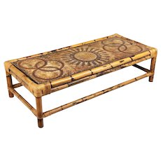 Midcentury French Rattan Coffee Table with Ceramic Top