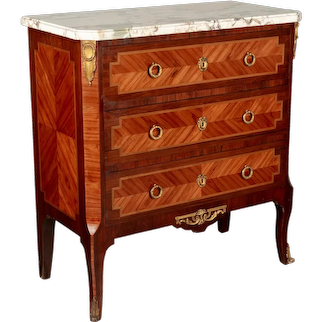 French Louis XVI Style Marquetry Commode