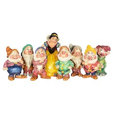 French Snow White and the Seven Dwarfs Large Scale Desvres Ceramic Set
