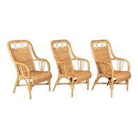 Midcentury French Rattan and Wicker Armchairs, Set of 3