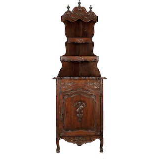 Country French Carved Oak Corner Cabinet