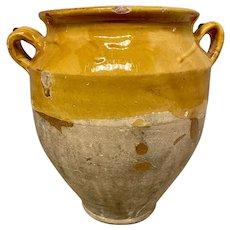 French Yellow Glazed Terracotta Confit Pot