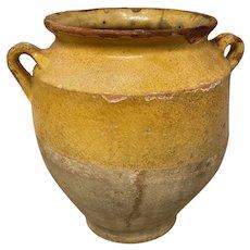 19th c French Pot à Confit or Yellow Glazed Pot