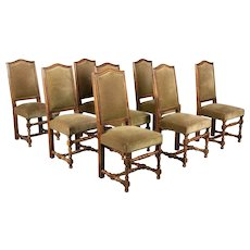 French Louis XIII Style Dining Chairs Set of 8