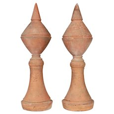 French Terracotta Roof Decorations, a Pair